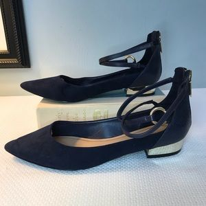 Aldo navy pointed toe zip up flats with straps